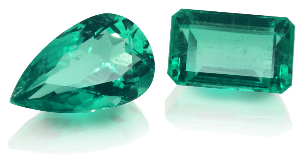 facetted emerald - pear shape & emerald-cut